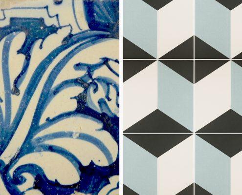 Azulejos hidráulicos con motivos florales y geométricos